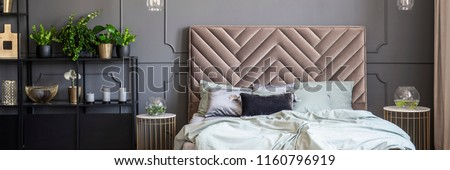 Bed with headboard between gold tables in grey bedroom interior with plants. Real photo #1160796919