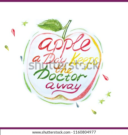 Figure slim fitness. Watercolor apple health intestines immunity. Good habit. Woman life. Apple a Day Keeps the Doctor away. Lettering #1160804977