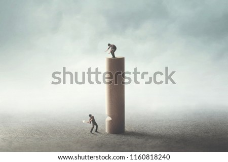 revenge for inequality between people, man with axe cutting wooden tower #1160818240