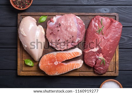 Mix of steak meat : salmon , beef , pork and chicken Royalty-Free Stock Photo #1160919277