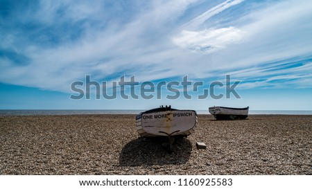 Old Fishing Boats in Aldeburgh on the North Sea in Suffolk, England, United Kingdom #1160925583
