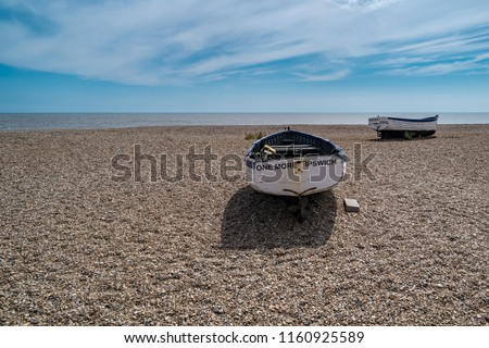 Old Fishing Boats in Aldeburgh on the North Sea in Suffolk, England, United Kingdom #1160925589