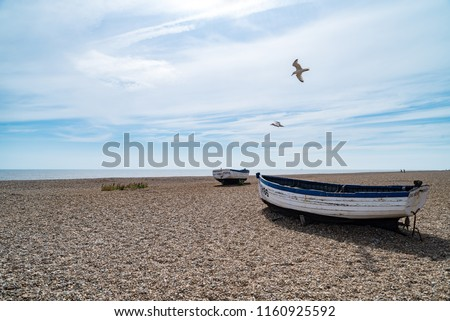 Old Fishing Boats in Aldeburgh on the North Sea in Suffolk, England, United Kingdom #1160925592