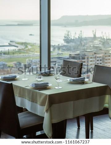 Restaurant interior. Outdoor catering service. #1161067237