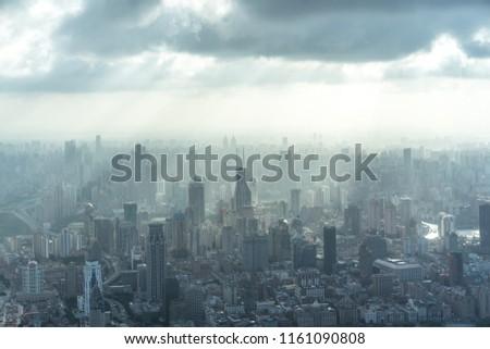 panoramic city skyline in shanghai china #1161090808