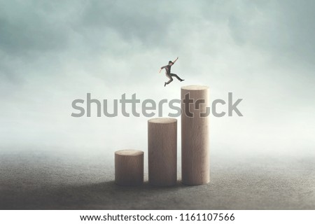 big jump to reach the top, success concept #1161107566