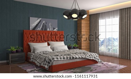 Bedroom interior. 3d illustration #1161117931