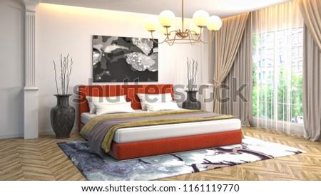 Bedroom interior. 3d illustration #1161119770