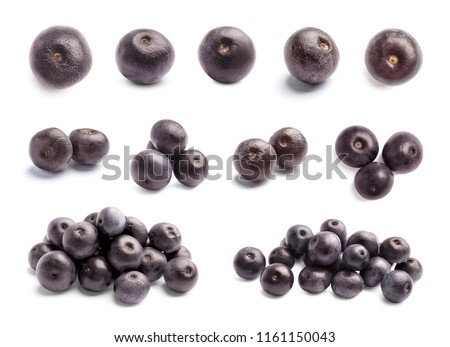 Set with acai berries on white background. Organic superfood #1161150043