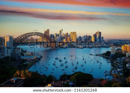 Panorama of Sydney harbour and bridge in Sydney city, New south wales, Australia #1161201268