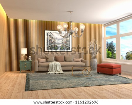 Interior of the living room. 3D illustration #1161202696
