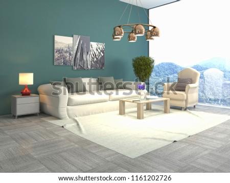 Interior of the living room. 3D illustration #1161202726