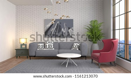 Interior of the living room. 3D illustration #1161213070