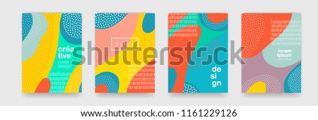 Abstract fun color pattern cartoon texture for doodle geometric background. Vector trend shape for brochure cover template design Royalty-Free Stock Photo #1161229126