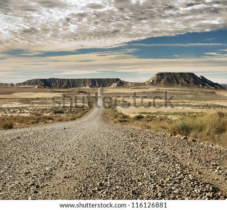 Wild west road landscape. #116126881