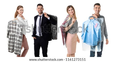 Set with people and clothes in plastic bags on white background. Dry-cleaning service #1161273151