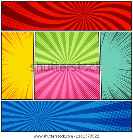 Comic book page background with radial halftone rays humor effects in different colors. Vector illustration