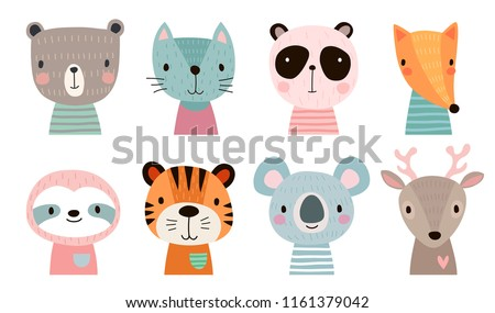 Cute animal faces. Hand drawn characters. Vector illustration. Royalty-Free Stock Photo #1161379042