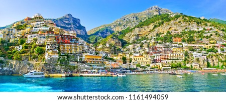 View of Positano village along Amalfi Coast in Italy in summer. Royalty-Free Stock Photo #1161494059