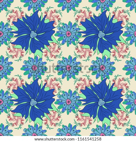 Vintage pro-vance style in green, blue and beige colors. Flower seamless pattern with assorted plants. #1161541258