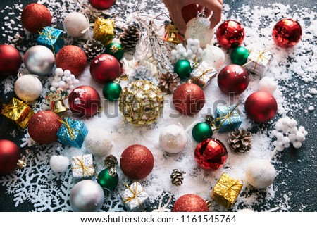 christmas ornament on snow #1161545764