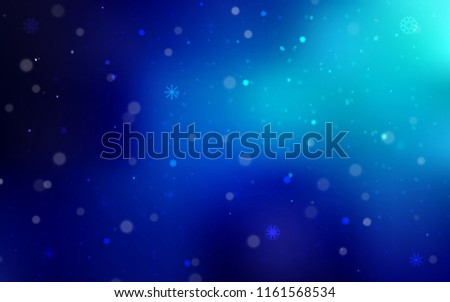 Dark BLUE vector pattern with christmas snowflakes. Shining colored illustration with snow in christmas style. The pattern can be used for year new  websites. #1161568534