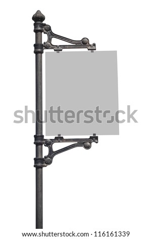 Metal Sign on street pole . Isolated on white, with clipping path.