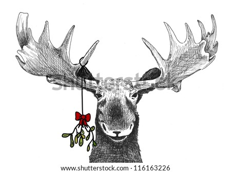 fun Christmas tradition of kiss under mistletoe, funny humorous Christmas card sketch of big smiling moose waiting for smooch, hand drawn holiday illustration, Christmas image decoration winter scene