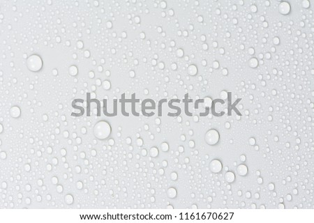Close up of water drops on gray tone background. Abstarct white wet texture with bubbles on window glass surface or grunge. Raindrop, Realistic pure water droplets condensed for creative banner design #1161670627