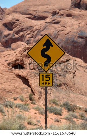 Overton, Nevada, USA on July 19, 2018 : Road sign in Valley of fire. #1161678640