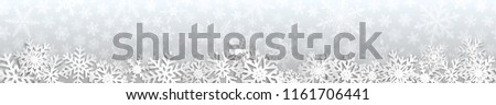 Christmas seamless banner with white snowflakes with shadows on gray background #1161706441