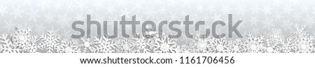 Christmas seamless banner with white snowflakes with shadows on gray background #1161706456