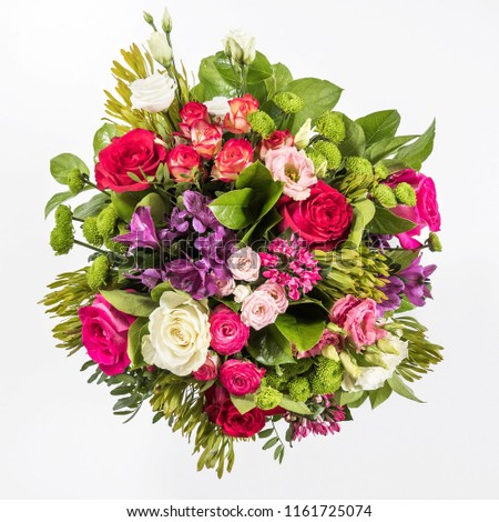 bouquet of flowers isolated, pink, green, purple, gerberas and roses #1161725074