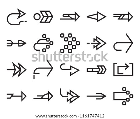 Set Of 20 simple editable icons such as Right arrow, web UI icon pack, pixel perfect #1161747412