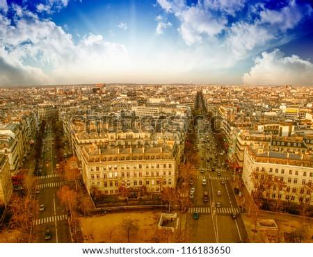 Sunset over Paris, view from Triumph Arc Terrace - France #116183650
