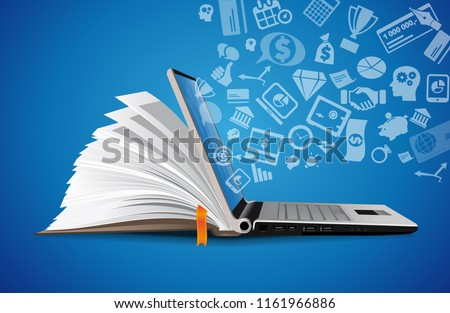 Computer as book knowledge base concept - laptop as elearning idea Royalty-Free Stock Photo #1161966886