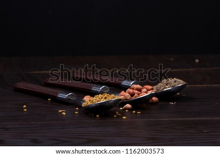 (chili, turmeric, oregano and other spices) : Group of indian spices and herbs on white background with top view and copy space for design foods, vegetable, spices, herbs or other your content. #1162003573