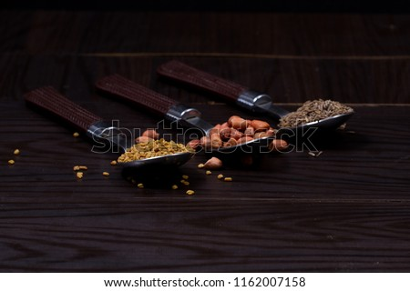 (chili, turmeric, oregano and other spices) : Group of indian spices and herbs on white background with top view and copy space for design foods, vegetable, spices, herbs or other your content. #1162007158