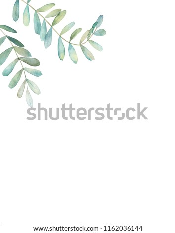Watercolor floral frame with eucalyptus branch. Hand drawn botanical illustration. Art background