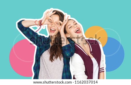 people, fashion and friendship concept - magazine style collage of happy teenage girls having fun and making faces over colorful background #1162037014
