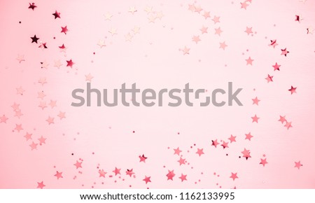 Festive pink background. Shining stars on light pink pastel background. Christmas. Wedding. Birthday. Happy woman's day. Mothers Day. Valentine's Day. Flat lay, top view, copy space. #1162133995