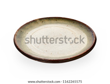 Green ceramic plate, Empty plate with granite texture isolated on white background with clipping path, Side view                                                                            #1162265575