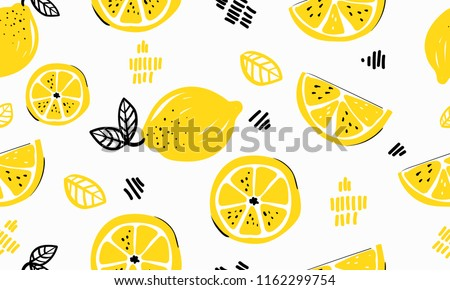 Seamless bright light pattern with Fresh lemons for fabric, drawing labels, print on t-shirt, wallpaper of children's room, fruit background. Slices of a lemon doodle style cheerful background. #1162299754