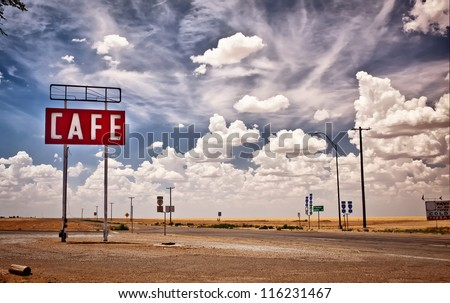 Cafe sign along historic Route 66 in Texas. Royalty-Free Stock Photo #116231467