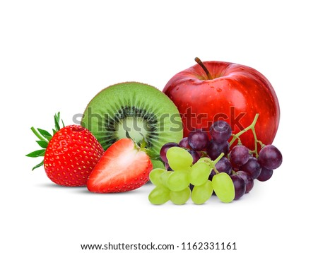 kiwi fruit,strawberry,grape and red apple isolated on white background, mix fruit for health #1162331161