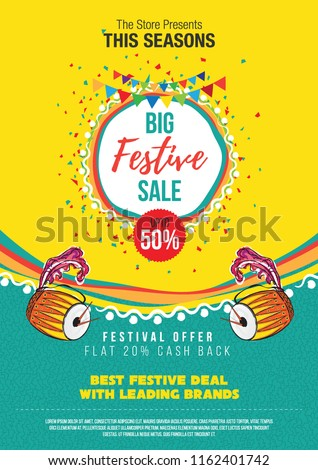 Big Festival Sale Poster Design Layout Template Background Design with 50% Discount Tag - A4 Size Festival Sale Poster Design Template Royalty-Free Stock Photo #1162401742