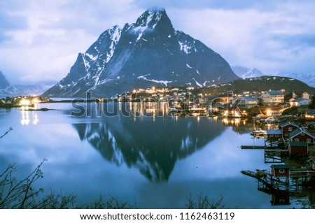 Magnificent panoramic sunset view at the port of Reine, Lofoten islands, Norway. - Image #1162463119