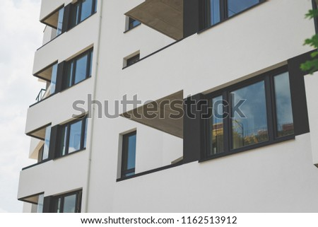 balconies of a building, a building in a residential area. Apartment building room living area , vintage tone #1162513912