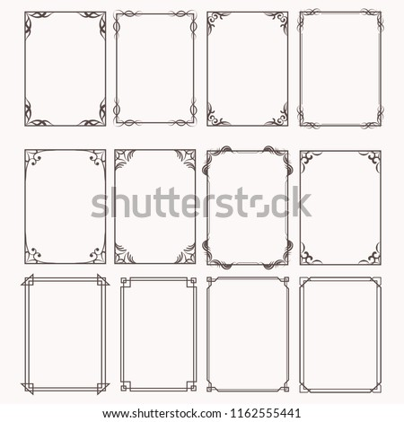 Decorative frames and borders rectangle proportions set #1162555441