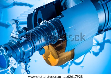 Augmented reality for industry concept. Robotic and Automation system control application on automate robot arm in smart manufacturing background. Royalty-Free Stock Photo #1162617928